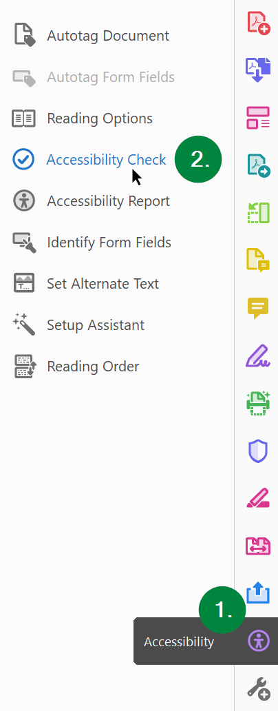 Screen capture of Microsoft PowerPoint, showing selection of accessibility tools menu and location of Accessibility Check option.