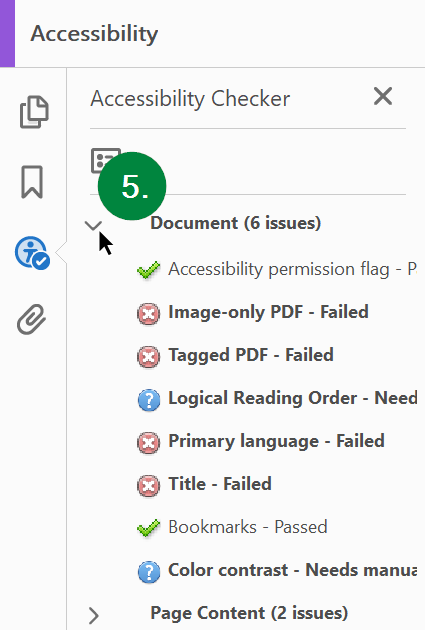 Screen capture of Microsoft PowerPoint, showing accessibility checker results.