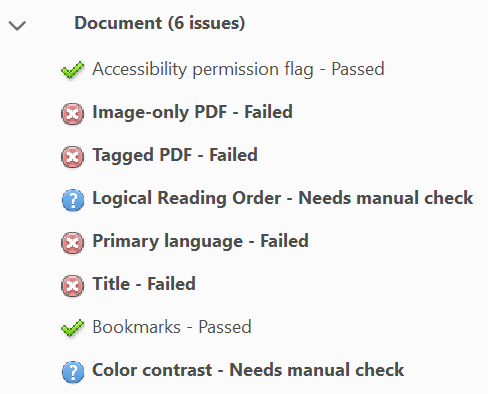 Screen capture of Adobe Acrobat, showing location of Accessibility Check results.