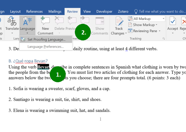 Screen capture detailing the steps outlined in the text to set the proofing language of selected text in Word.