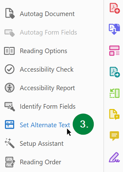 Screen capture of Adobe Acrobat, showing Set Alternate Text tool in the Accessibility Tools pane.