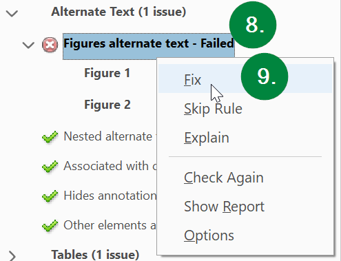 Screen capture of Adobe Acrobat, showing the Figures alternate text status in the accessibility check results.