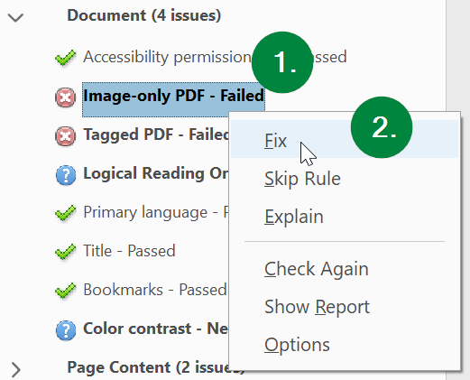 Screen capture of Adobe Acrobat, showing the location of the Image-only PDF item in the accessibility check results.
