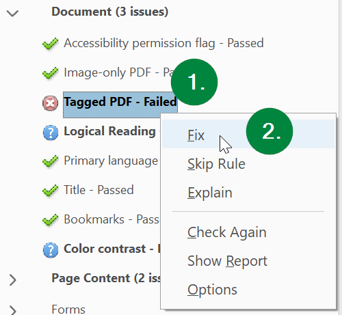 Screen capture of Adobe Acrobat, showing location of Tagged PDF item in Accessibility Check results.
