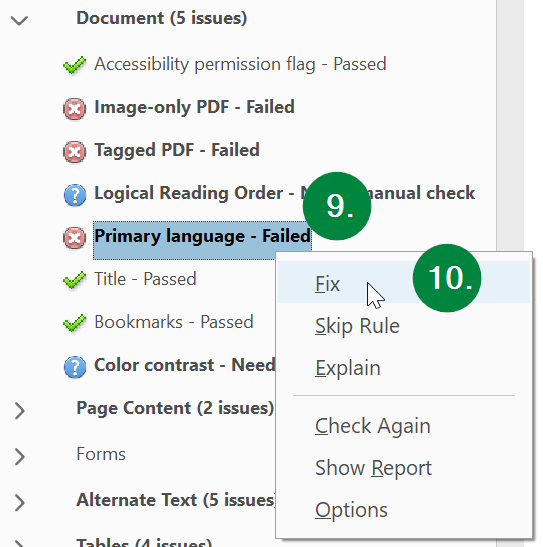 Screen capture of Adobe Acrobat, showing language in accessibility check results.