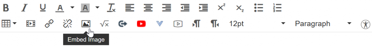 The toolbar of the rich text editor in Canvas.