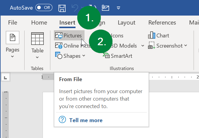 Screen capture of Microsoft Word's Insert ribbon menu.