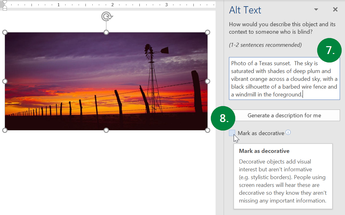 Screen capture of the Alt Text pane in Microsoft Word.
