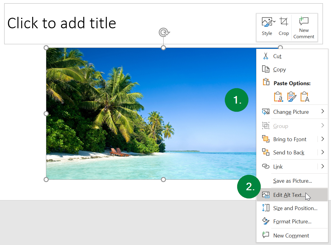 Screen capture of an image in a slide in Microsoft PowerPoint, and the right-click menu.