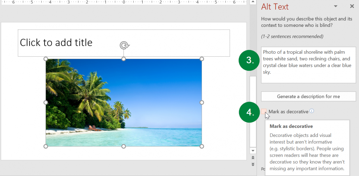 Screen capture of the Alt Text pane in Microsoft PowerPoint.