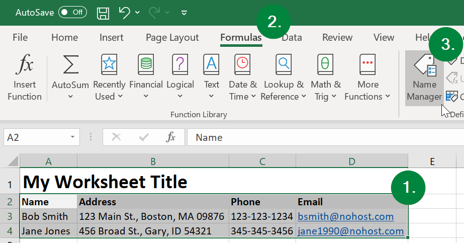 Screen capture of Microsoft Excel, showing location of Names Manager button in Formulas ribbon menu.
