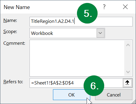 Screen capture of Microsoft Excel, showing the location of the Name field and OK button in the New Name window.