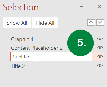 Screen capture of PowerPoint, showing the renaming of a content element in the Selection pane.