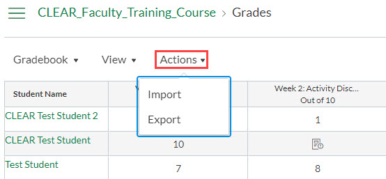 Gradebook actions menu dropdown
